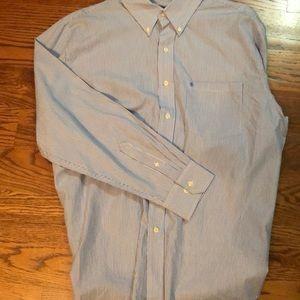 Izod Blue Striped Dress Shirt.